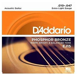 Encordoamento Daddario Violão Aço 010 Ej15 Phosphor Bronze