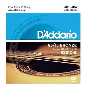 Encordoamento Daddario Violão Aço 011 Bronze Ez910B-Pl011