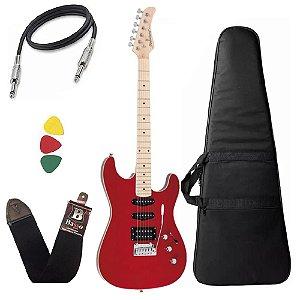 Kit Guitarra Strinberg Sgs180 Vermelho Strato Humbucker Capa Bag