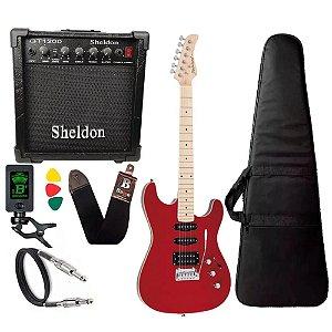 Kit Guitarra Strinberg Sgs180 Vermelho Amplificador Sheldon
