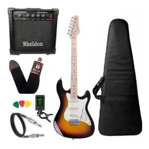 Kit Guitarra Strinberg Sts100 Sb Sunburst Amplificador Sheldon