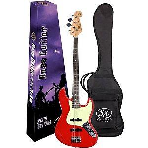 Baixo SX SJB62 Fr Vermelho Jazz Bass 4 Cordas Capa