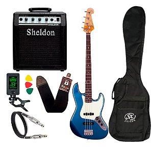 Kit Baixo Sx Sjb62 Lpb Azul Jazz Bass Amplificador Sheldon
