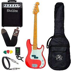 Kit Baixo Sx Spb57 Vermelho Precision 4 Cordas Amplificador