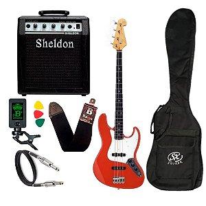 Kit Baixo Sx Jazz Bass 4 Cordas Sjb62 Vermelho Amplificador Sheldon