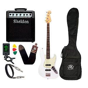 Kit Baixo Sx Jazz Bass 4 Cordas Sjb62 Branco Amplificador Sheldon