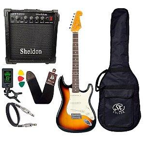 Kit Guitarra Sx Vintage Sst62 Sunburst Amplificador Sheldon