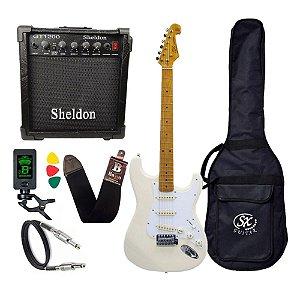 Kit Guitarra Sx Vintage Sst57 Branco Serie Plus Amplificador Sheldon