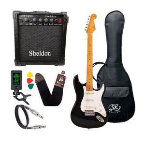 Kit Guitarra Sx Vintage Sst57 Preta Amplificador Sheldon