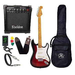 Kit Guitarra Sx Vintage Sst57 Sunburst S Plus Amplificador Sheldon