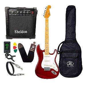 Kit Guitarra Sx Vintage Sst57 Vermelho S Plus Amplificador Sheldon