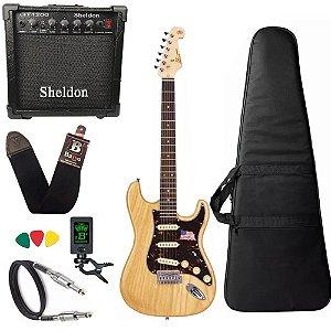 Kit Guitarra Sx Vintage Swamp Natural Ash Americano Amplificador Sheldon