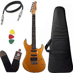 Kit Guitarra Tagima Tg510 Dourado Metallic Gold Capa Cabo