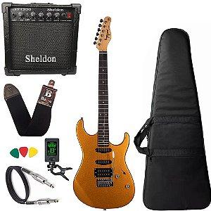 Kit Guitarra Tagima Tg510 Dourado Gold Amplificador Sheldon