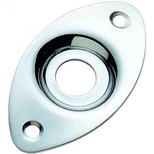 Jack Plate De Metal Custom Sound Oval Cromado