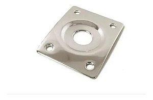 Jack Plate De Metal Custom Sound Quadrado Cromado Cjp2q