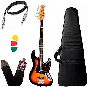 Kit Baixo Tagima Tw73 Sunburst E/TT Jazz Bass Capa