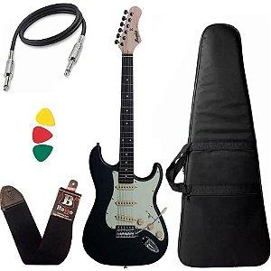 Kit Guitarra Strato Tagima Memphis Mg30 Preto Fosco Bag Capa