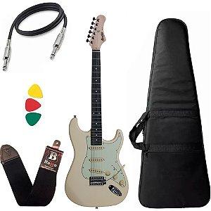 Kit Guitarra StratocasterTagima Memphis Mg30 Branco Bag Capa