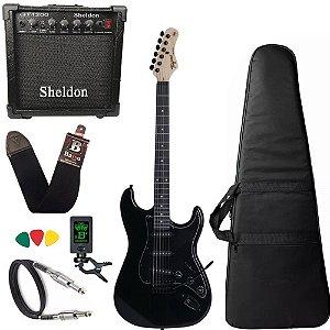Kit Guitarra Tagima Tg500 Preto Black Amplificador Sheldon