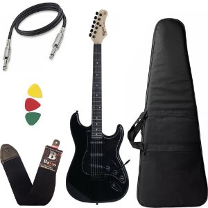 Kit Guitarra Tagima Tg500 Preto Black Strato Capa Cabo Alça