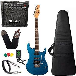 Kit Guitarra Tagima Tg510 Azul MBL DF Metálico Amplificador Sheldon