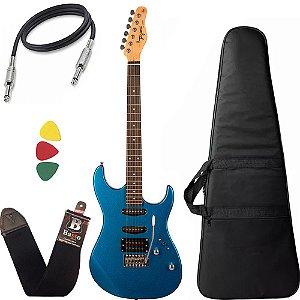 Kit Guitarra Tagima Tg510 Azul Metálico Mbl DF Capa Cabo
