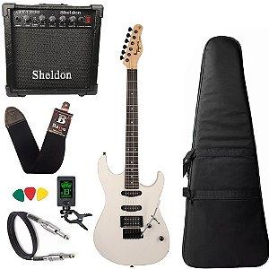 Kit Guitarra Tagima Tg510 Branco WH DF Cubo Amplificador Sheldon