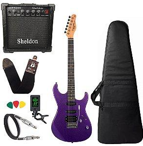 Kit Guitarra Tagima Tg510 Roxo Metálico Amplificador Sheldon