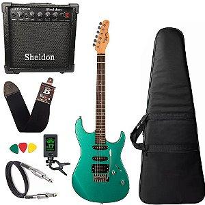 Kit Guitarra Tagima Tg510 Verde Surf Green Amplificador Sheldon