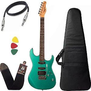 Kit Guitarra Tagima Tg510 Verde MSG DF Metálico Surf Green Capa Cabo