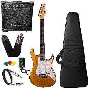 Kit Guitarra Tagima Tg520 Dourado Gold Amplificador Sheldon