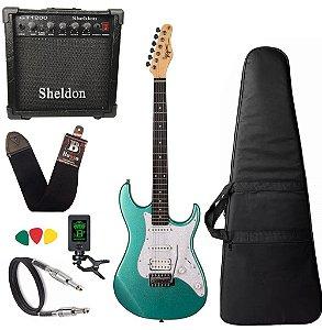 Kit Guitarra Tagima Tg520 Verde Metálico Amplificador Sheldon