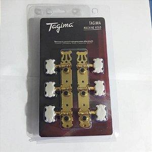 Tarraxa Tagima Violão Nylon Tmh830 Dourado Branco Perolado