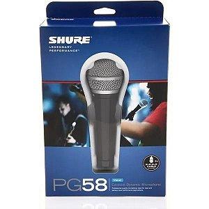 Microfone Shure PG58 Cardioide Dinâmico Para Voz  Cabo Xlr