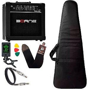 Kit Para Guitarra Amplificador Borne G30 Capa Cabo Correia