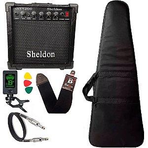 Kit Para Guitarra Amplificador Sheldon Gt1200 Capa Cabo Correia