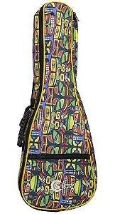 Bag Capa Custom Sound Para Ukulele Concert  Colorido