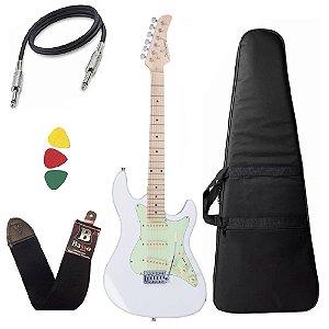 Kit Guitarra Strinberg Sts100 Wh Branco Stratocaster Capa