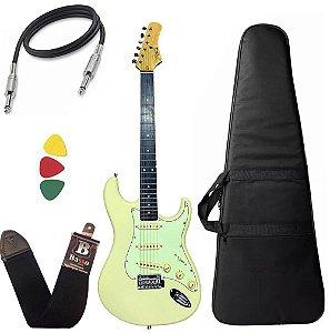 Kit Guitarra Tagima T635 Branco Vintage Creme Escura Mg Capa