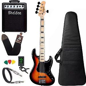 Kit Baixo Tagima TJB5 sunburst Jazz Bass + amplificador