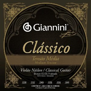Encordoamento Giannini Violão Nylon Tensão Média GENWPM