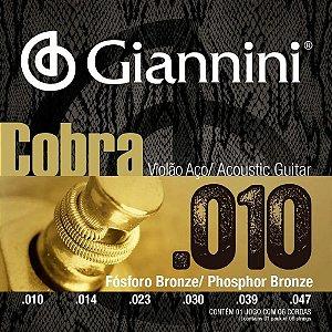 Encordoamento Giannini Violão Aço 010 Fósforo Bronze GEEFLEF