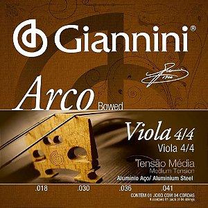Encordoamento Giannini Viola 4/4 Arco Alumínio Média GEAVOA