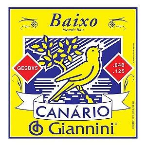 Encordoamento Giannini Canário Contra Baixo 5 Cordas GESBX5