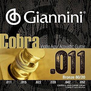Encordoamento Giannini Cobra Violão Aço 011 Bronze CA82SL