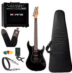 Kit Guitarra Tagima Tg520 Preto Amplificador Borne