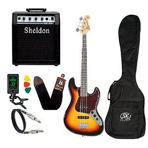 Kit Baixo SX Bd1 Jb 4 Cordas Sunburst 3Ts Amplificador Sheldon
