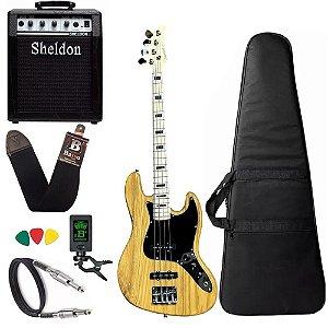 Kit Baixo Strinberg Jbs50 Natural 4 cordas amplificador bss