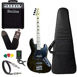 Kit Baixo Strinberg Jbs50 Preto 4 cordas Amplificador Sheldon